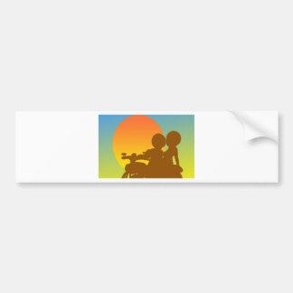 motocicleta de la puesta del sol pegatina de parachoque