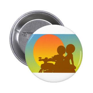 motocicleta de la puesta del sol pin redondo de 2 pulgadas