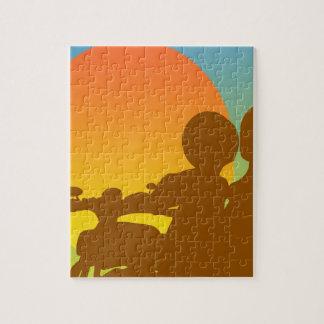 motocicleta de la puesta del sol puzzle
