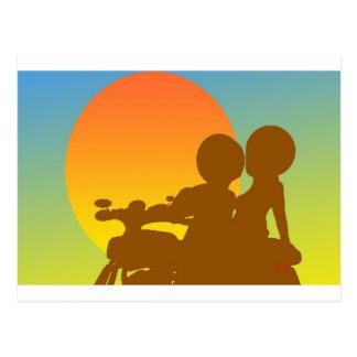 motocicleta de la puesta del sol tarjeta postal