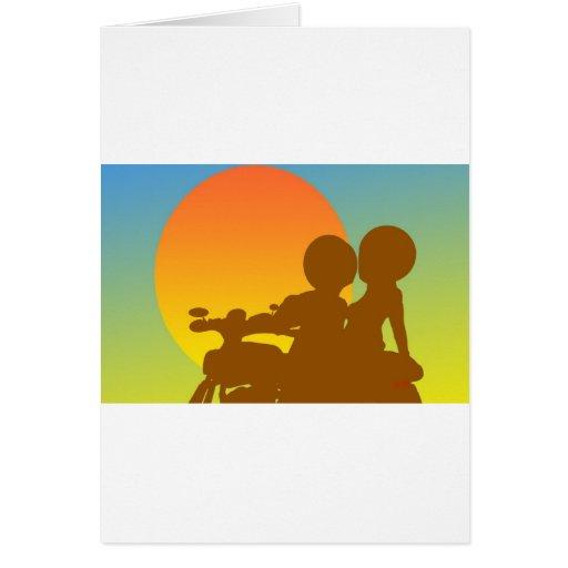 motocicleta de la puesta del sol tarjetón