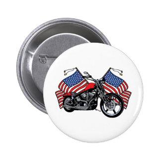 Motocicleta de las banderas americanas pin redondo de 2 pulgadas