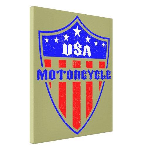Motocicleta de los E.E.U.U. Impresión En Lienzo Estirada