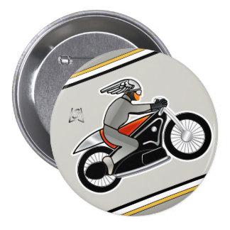 "Motocicleta del art déco (3"" perno) pin redondo de 3 pulgadas"