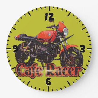 Motocicleta del corredor del café reloj redondo grande