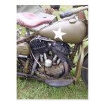 Motocicleta del ejército del vintage postal