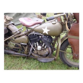 Motocicleta del ejército del vintage tarjeta postal