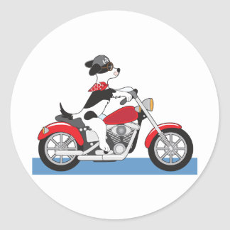 Motocicleta del perro pegatina redonda