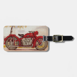 Motocicleta del rojo del vintage etiqueta de maleta