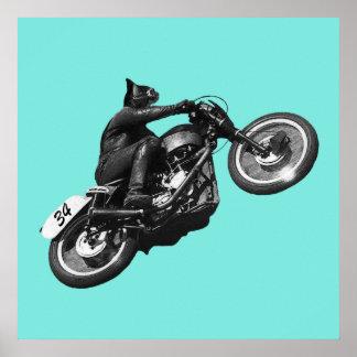 Motocicleta del vintage con el jinete del gato póster