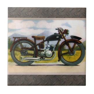 Motocicleta del vintage de la acuarela tejas  cerámicas