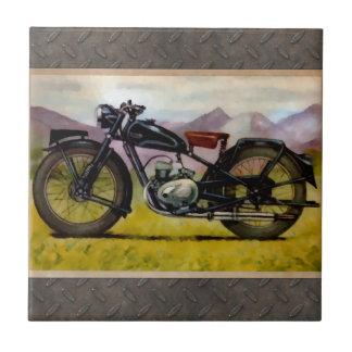Motocicleta del vintage de la acuarela azulejos ceramicos