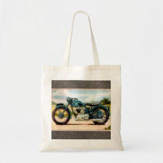 Motocicleta del vintage de la acuarela bolsa tela barata