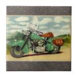 Motocicleta del vintage de la acuarela tejas