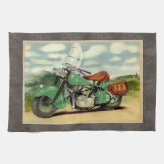 Motocicleta del vintage de la acuarela toalla de cocina