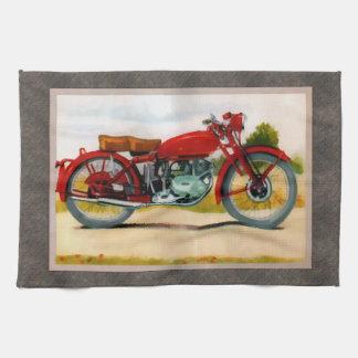 Motocicleta del vintage de la acuarela toallas de mano