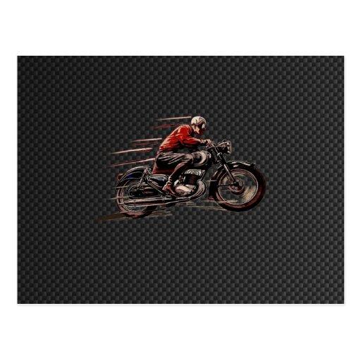 MOTOCICLETA DEL VINTAGE EN FIBRA DEL CARBONO POSTAL