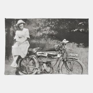 Motocicleta del vintage toallas de cocina