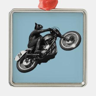 motocicleta divertida del vintage del gato adorno navideño cuadrado de metal