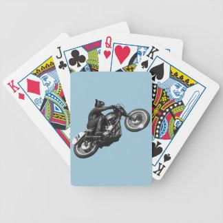 motocicleta divertida del vintage del gato barajas de cartas