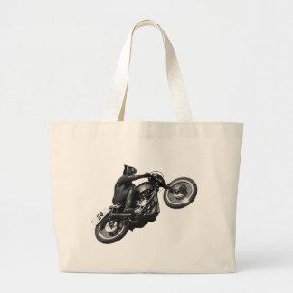 motocicleta divertida del vintage del gato bolsa tela grande