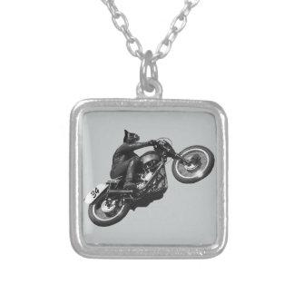 motocicleta divertida del vintage del gato colgante cuadrado