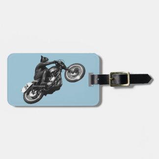 motocicleta divertida del vintage del gato etiqueta para equipaje