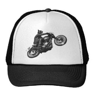 motocicleta divertida del vintage del gato gorro de camionero