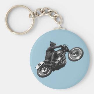 motocicleta divertida del vintage del gato llavero redondo tipo pin