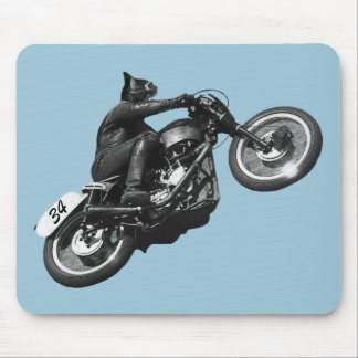 motocicleta divertida del vintage del gato mousepad