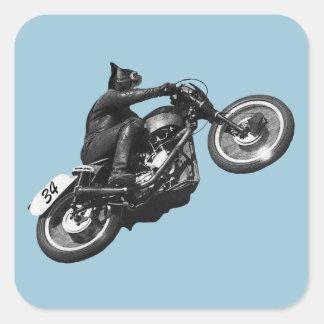 motocicleta divertida del vintage del gato pegatina cuadrada