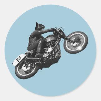 motocicleta divertida del vintage del gato pegatina redonda