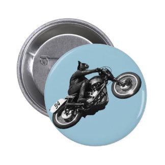 motocicleta divertida del vintage del gato pin redondo de 2 pulgadas
