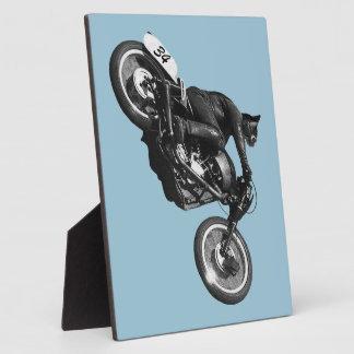 motocicleta divertida del vintage del gato placas de madera