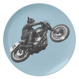 motocicleta divertida del vintage del gato platos de comidas