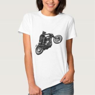 motocicleta divertida del vintage del gato polera