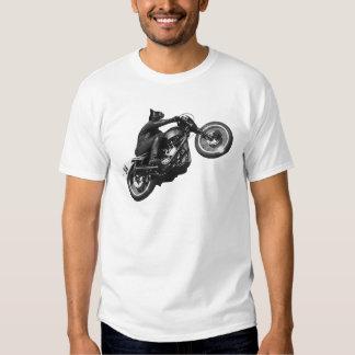 motocicleta divertida del vintage del gato poleras