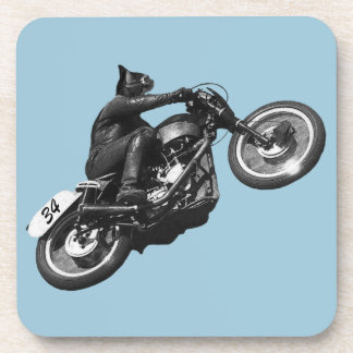 motocicleta divertida del vintage del gato posavaso