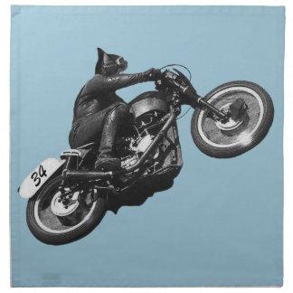 motocicleta divertida del vintage del gato servilleta imprimida