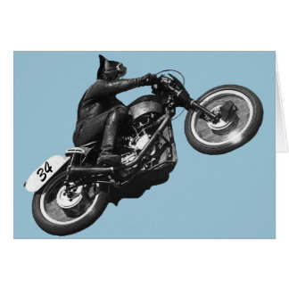 motocicleta divertida del vintage del gato tarjeta de felicitación