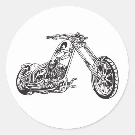 motocicleta etiqueta redonda