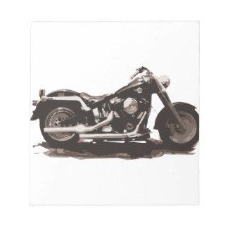 Motocicleta gorda clásica del muchacho bloc de notas