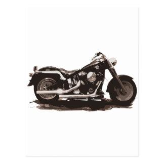 Motocicleta gorda clásica del muchacho postales