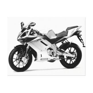 Motocicleta hermosa 7 negra y blanco impresión en tela