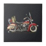 Motocicleta linda azulejo cuadrado pequeño