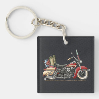 Motocicleta linda llavero cuadrado acrílico a una cara