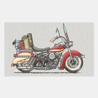Motocicleta linda pegatina rectangular