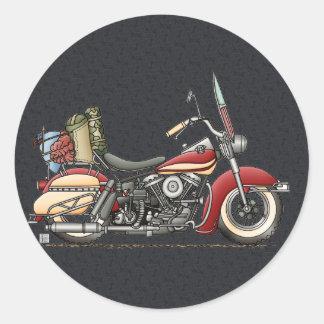 Motocicleta linda pegatina redonda
