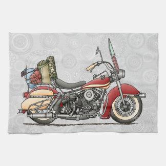 Motocicleta linda toalla de cocina