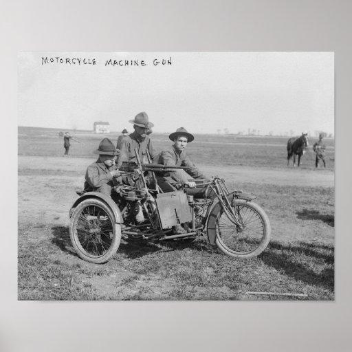 Motocicleta militar con el coche lateral y la amet poster